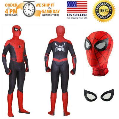 Boys Black Spiderman Costume (SpiderMan Far From Home Spider-man Zentai Child Kids Boys Cosplay Costume)