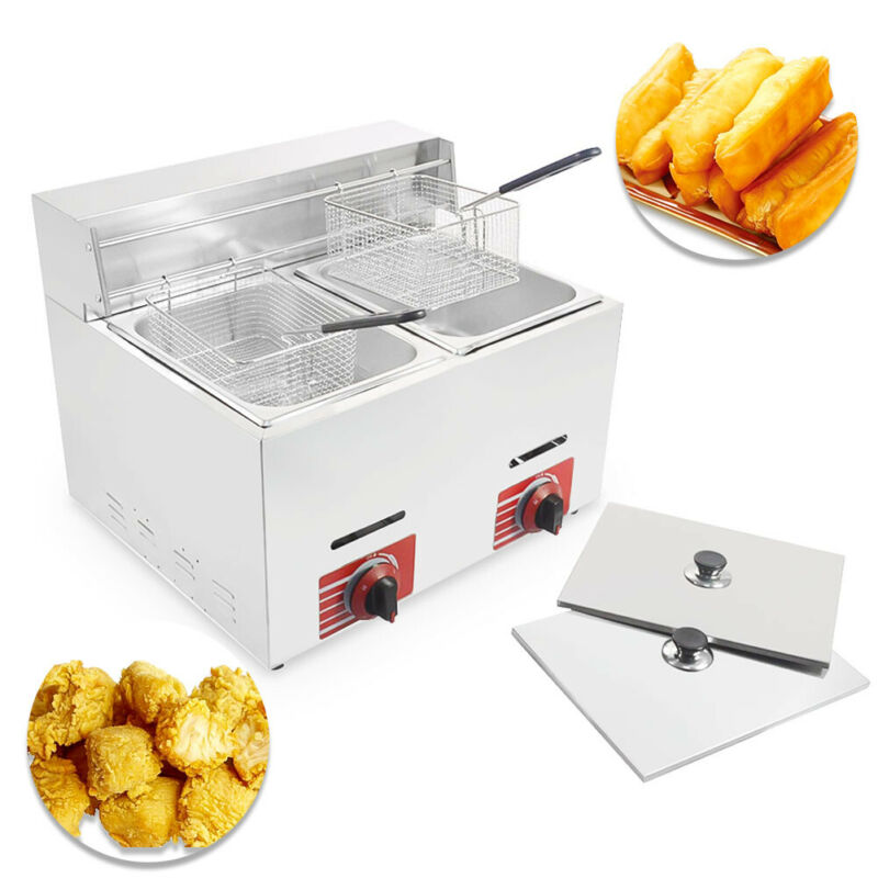 Commercial Countertop Gas Fryer 2 Baskets Deep Fryer GF-72 Propane(LPG) 10L*2