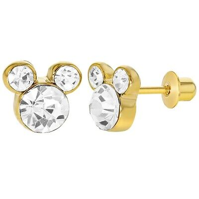 18k Gold Plated Little Mouse Clear Crystal Screw Back Girls Earrings -