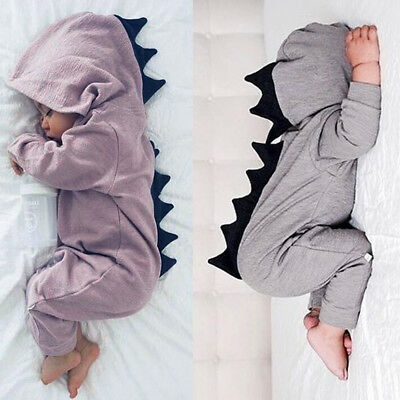 Newborn Baby Boy Girl Dinosaur Costume Hooded Romper Jumpsuit Bodysuit Outfits