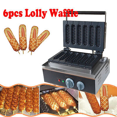 Commercial Nonstick Electric 6pcs Waffle Dog Maker Lolly Waffle Stick Baker Iron