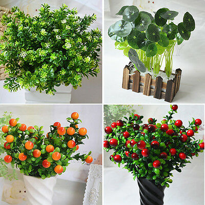 Fake Artificial Plant Plastic Mini Leaves Foliage Flower Grass Office Home - Decorative Grass