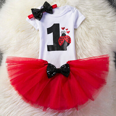 Ladybug 1st Birthday Photo Toddler Baby Girls Romper Skirt 3PCS Clothes Outfits