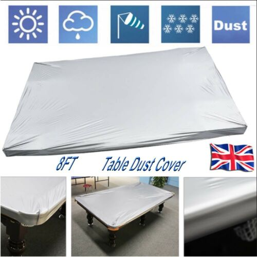 Silver Grey PVC Cloth 8ft Fitted Waterproof Tablecover Billiard Pool Dust Cover
