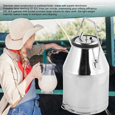 25l Portable Dairy Cow Bucket Tank Barrel Milker Stainless Steel Milking Machine