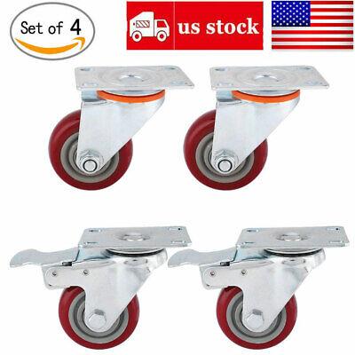 4 Pack Heavy Duty 3-inch Swivel Total Lock Brake Polyurethane Plate Caster Pu Us