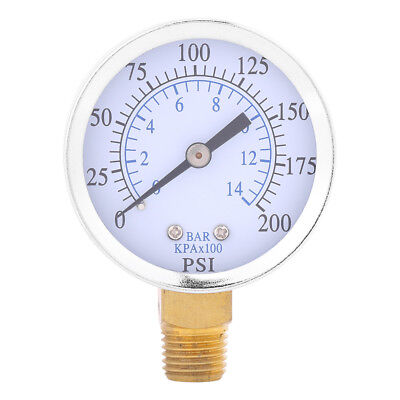 Air Compressor Pressure Gauge 14npt 0-200psi 0-14bar Manometer Side Mount Gl