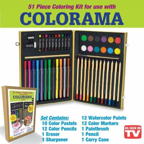 Colorama 51 Piece Coloring Art Kit Markers Pencils Paint With Case