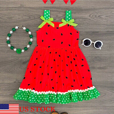 Summer Toddler Kid Baby Girls Sleeveless Clothes Watermelon Party Dress 1-7T - Red Dress Girls