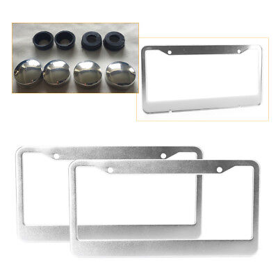 2PCS Chrome Stainless Steel Metal Car License Plate Frame Tag Cover W/Screw Caps