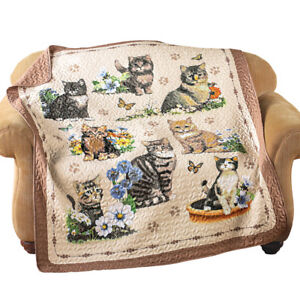 Quilted Throw Blanket, Charming Cat / Kitten and Floral Collage,  6