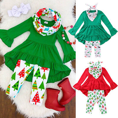 Toddler Kids Baby Girls Flower Top Blouse Pants Leggings Outfits Set Clothes USA - Girls Flower Leggings