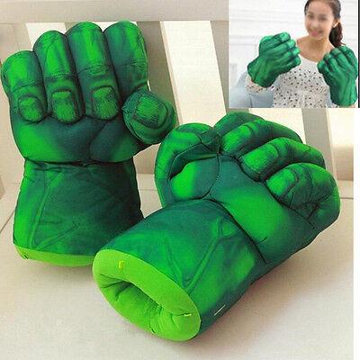 Pair Superhero Hulk Smash Hands Cosplay Gloves Plush Punching Boxing Fists Toys