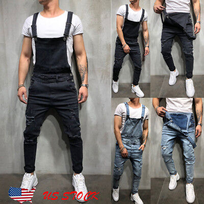 - Men's Distressed Denim Carpenter Overalls Bib Jumpsuits Moto Biker Jean Pants US