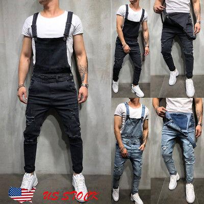 Men's Distressed Denim Carpenter Overalls Bib Jumpsuits Moto Biker Jean Pants US