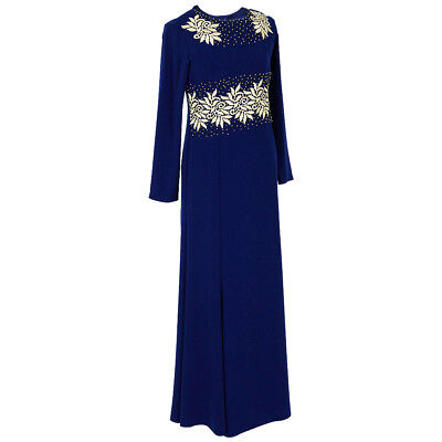Gold Beads and Embroidery with Back Zipper Dark Blue Abaya Size 38