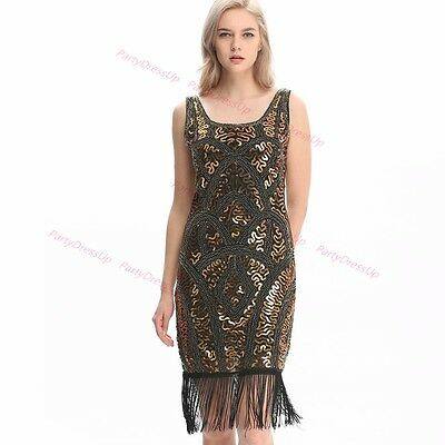 Deluxe 1920s Roaring 20s Flapper Costume Pearl Sequin Outfit Fancy Dress AU Sale