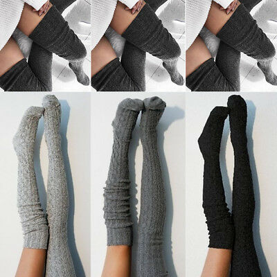 Women Lady Wool Warm Knit Over Knee Thigh High Stockings Socks Pantyhose Tights - Ladies Knee Tight
