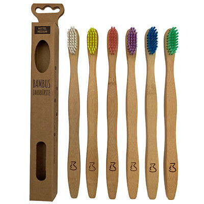 6er Set Zahnbürste Zahnbürsten Mittel Medium nachhaltig vegan Bambus Holzbürste