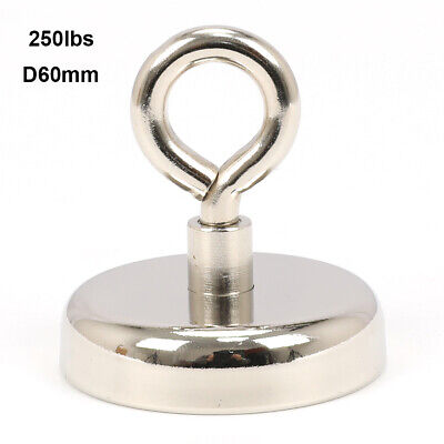 Fishing Magnet Neodymium Strong Retrieving Treasure Hunt 250lbs Pull Force D60mm