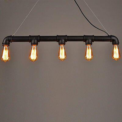Lightess Lámpara de Techo Colgante Tubo Industrial Vintage Retro 5 Portalamparas