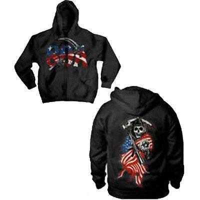Sons Of Anarchy American Flag Full Zip Hoodie Sweatshirt -Motorcycle Club SAMCRO