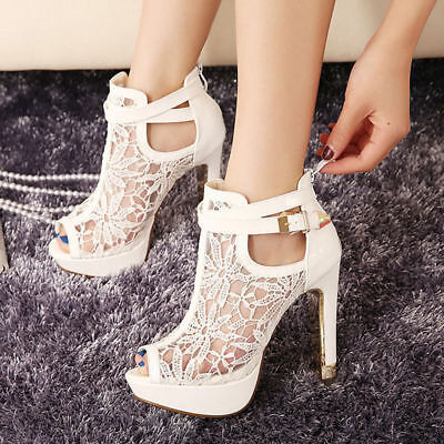 3 Colors Women Sexy Lace Flower Shoes Open Toe Prom Party High Heels Ankle Boots