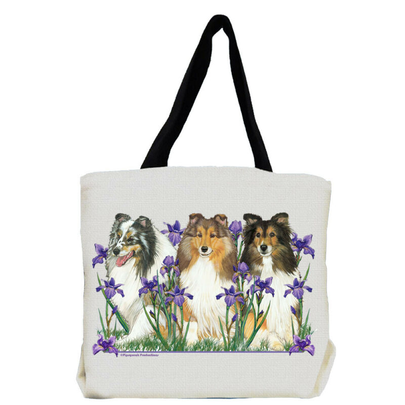 Sheltland Sheepdog Sheltie Dog with Flowers Tote Bag