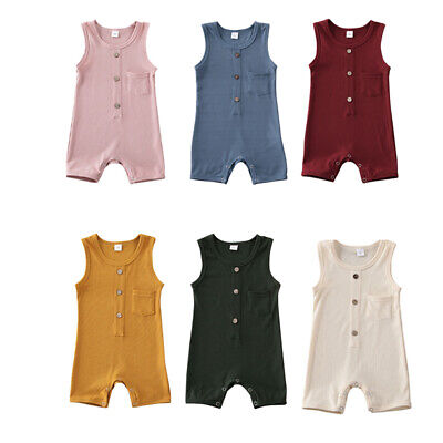 US Newborn Baby Boy Girl Sleeveless Knitted Romper Jumpsuit One-Piece Clothes