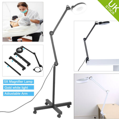 Magnifying Lamp Desk Floor Stand Glass 5x Magnifier Lamp Skincare Beauty Tattoo