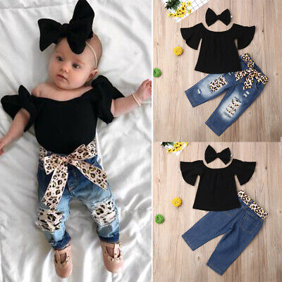 - Toddler Kid Baby Girl 3Pcs Outfit Off Shoulder Top+ Denim Pants Headband Clothes