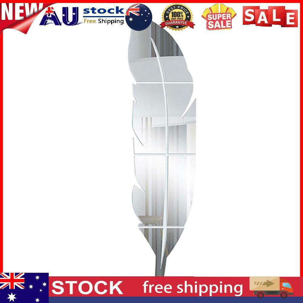 Home Decoration - 3D DIY Acrylic Feather Mirror Wall Stickers Home Decor Wall Decal (Silver)