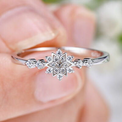 Ladies Vintage 1.1Ct Round Diamond Snowflake Wedding Ring 14k White Gold Over