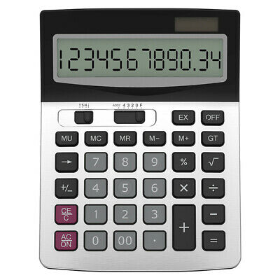 12-digit Lcd Calculator Large Keyboard Keys Solar Powered Cell For Business Home