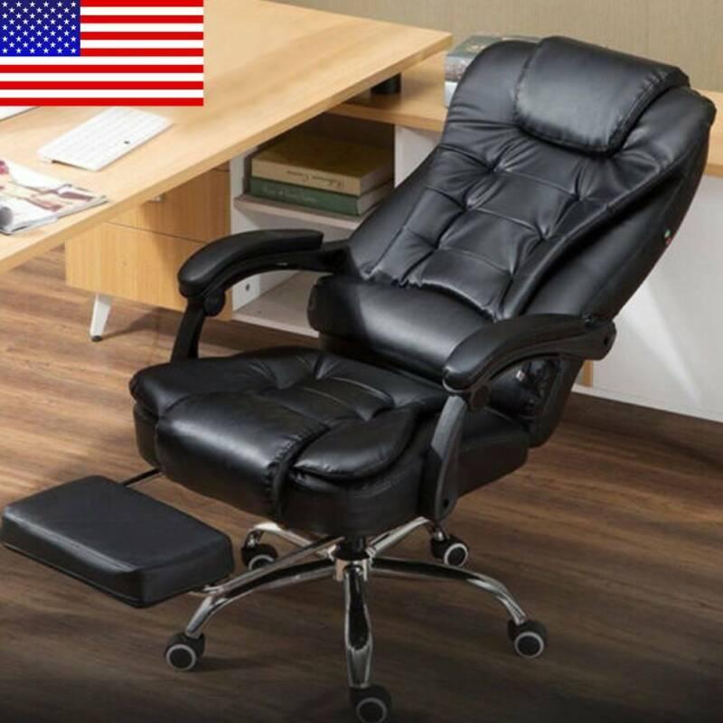 Ergonomic Reclining Massage Office Computer Chair Gaming Chair w/ Footrest USA