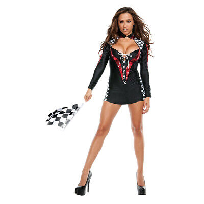 Womens Long Sleeve Racer Checkered Cheer Girl Halloween Party Mini Dress Costume - Halloween Racer Girl Costumes