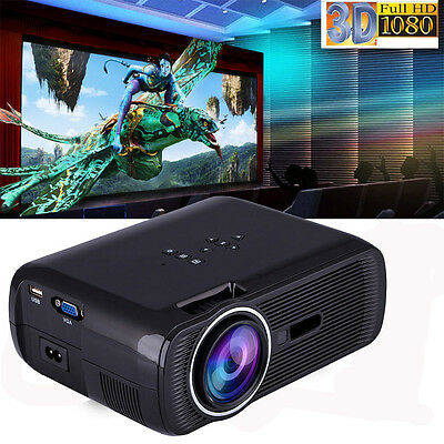 1000Lumes Full HD 1080P LED LCD 3D VGA HDMI TV Home Theater Projector Cinema P~~
