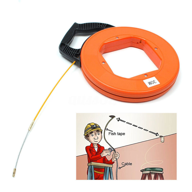 98.4Ft Fiberglass Fish Tape Reel Puller Conduit Ducting Rodder Wire Cable Dia4mm
