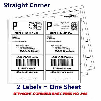 200 8.5x5.5-Premium Shipping-Labels-Half-Sheet-Self-Adhesive-USPS-UPS-FedEx USA