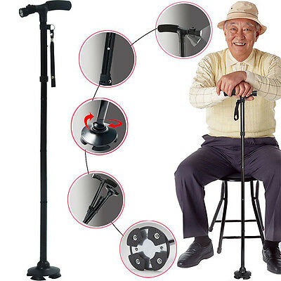 Folding Walking Cane Adjustable Height 4 Head Pivoting Trusty Base with LED