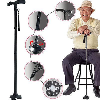 Magic Cane Folding LED Safety Walking Stick 4 Head Pivoting Trusty Base - Folding Cane Walking Stick