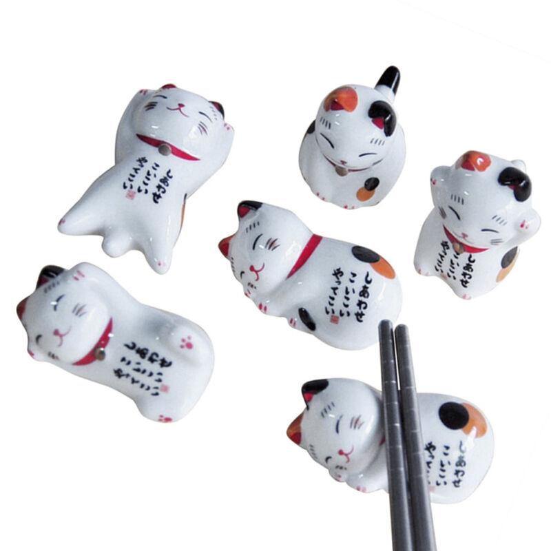 5pcs Mini Lucky Cat Ceramic Chopstick Stand Rest Holder Rack Table Ornaments