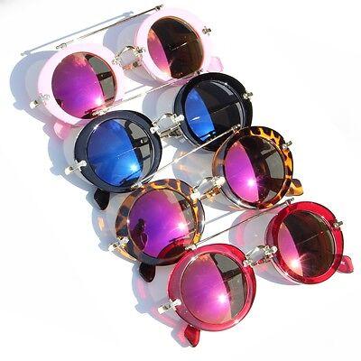 Sonnenbrille Veurspiegelt Retro rund mit Bügel 100% UV400 Sunglasses