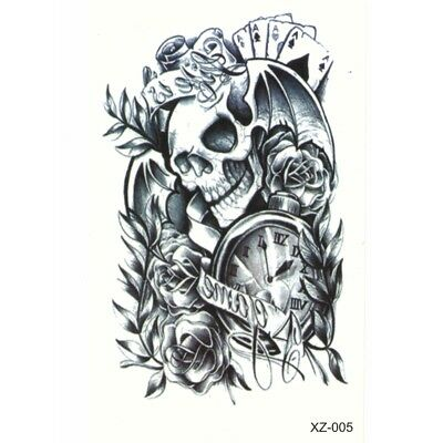 Temporäre Tattoos Totenkopf Skull Fledermaus Design Temporary Klebetattoo