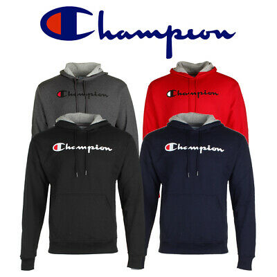 Champion Men's Long Sleeve Powerblend Script Logo Pullover Hoodie Activewear