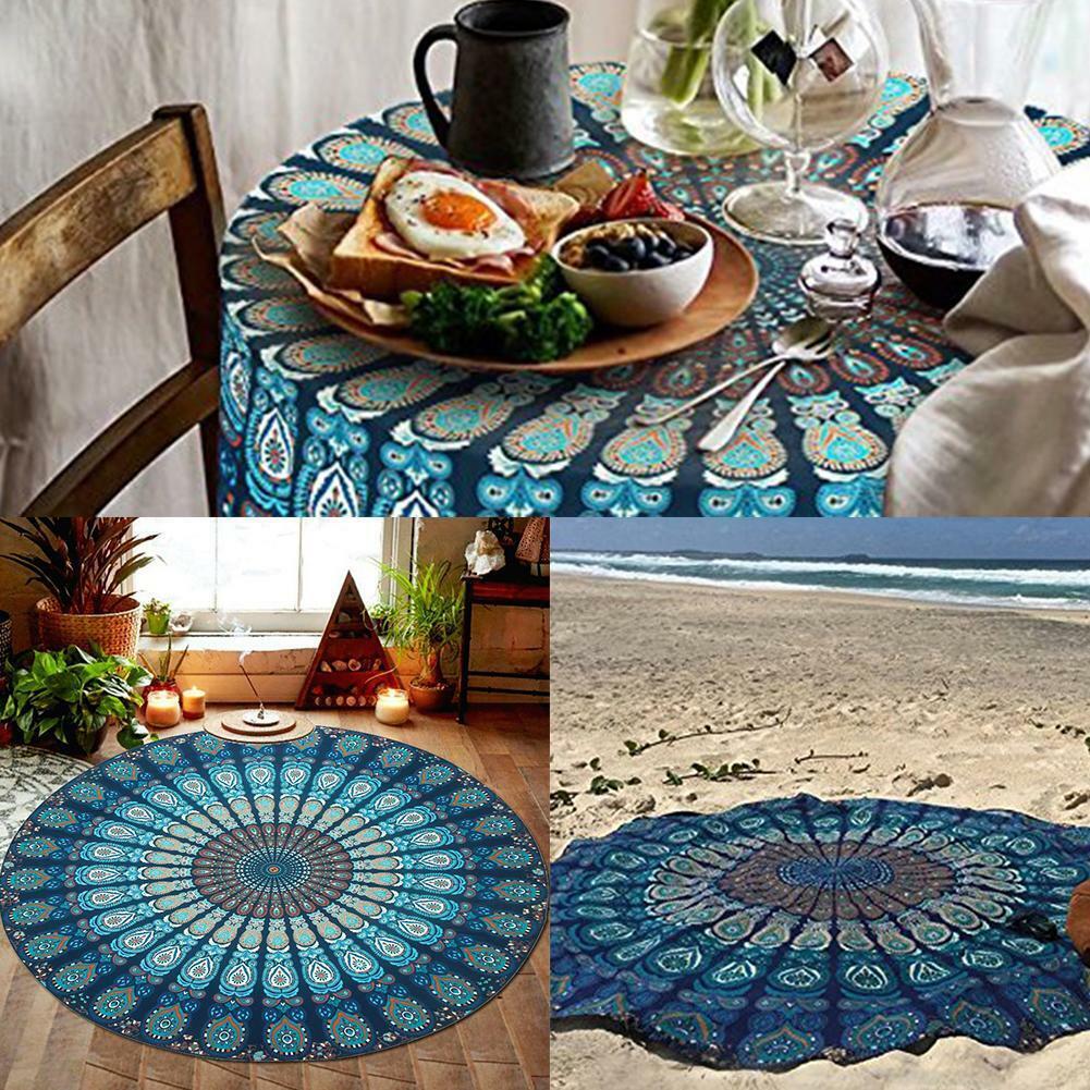 1x round beach mat boho vintage outdoor