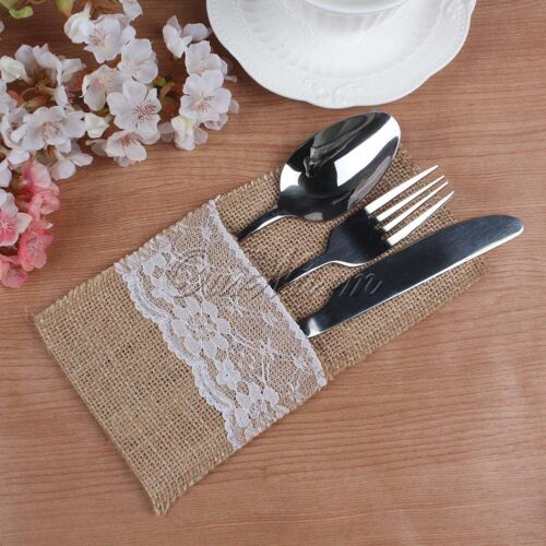 100 Hessian Burlap Lace Cutlery Holder Pouch Bag Wedding Party Flatware Storage