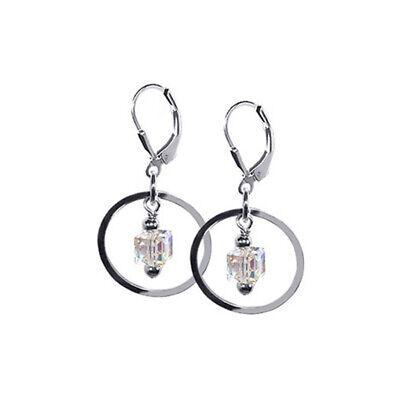 Swarovski Elements Cube Crystal Dangling Silver Hoop Leverback Drop Earrings ()
