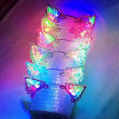 Cute LED Light Up Cat Ears Design Lace Hair Hoop Headband Headwear Party Supply (Light Up Cat Ears)