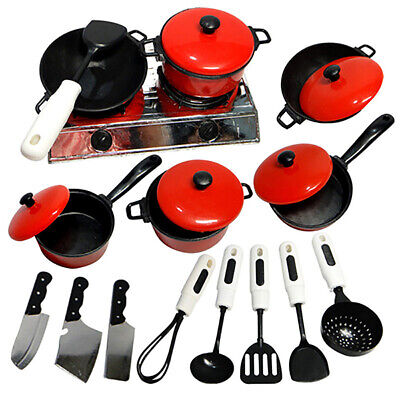 Kids Play Toy Kitchen Cooking Food Utensils Pans Pots Cookware Supplies USA